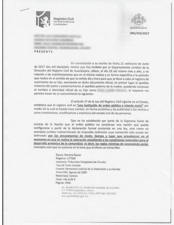 Respuesta oficial del registro civil.