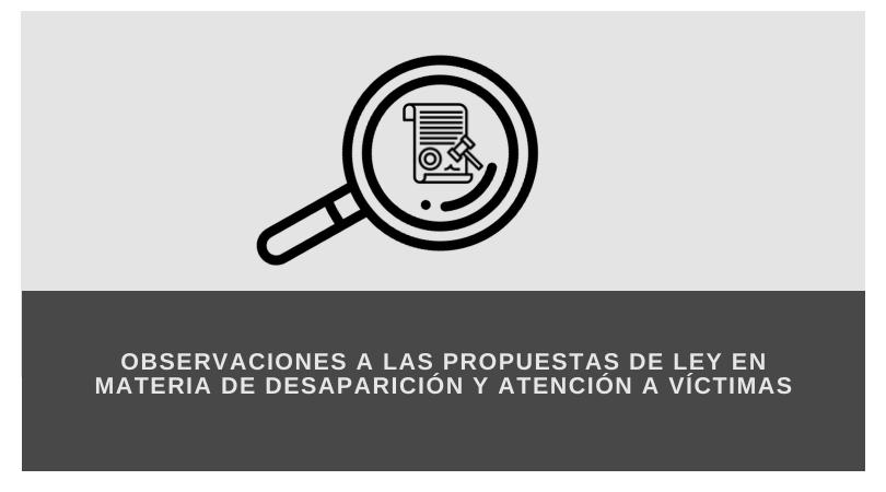 OBSERVACIONES A LA PROPUESTA DE LEY EN MATERIA DE DESAPARICIÓN Y ATENCIÓN A VÍCTIMAS